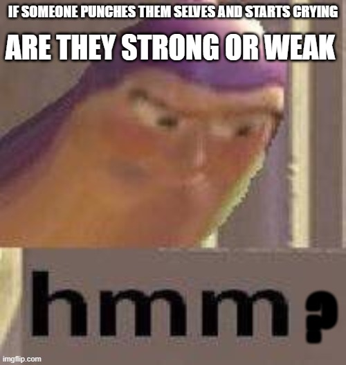 hmmmm |  IF SOMEONE PUNCHES THEM SELVES AND STARTS CRYING; ARE THEY STRONG OR WEAK; ? | image tagged in buzz lightyear hmm | made w/ Imgflip meme maker