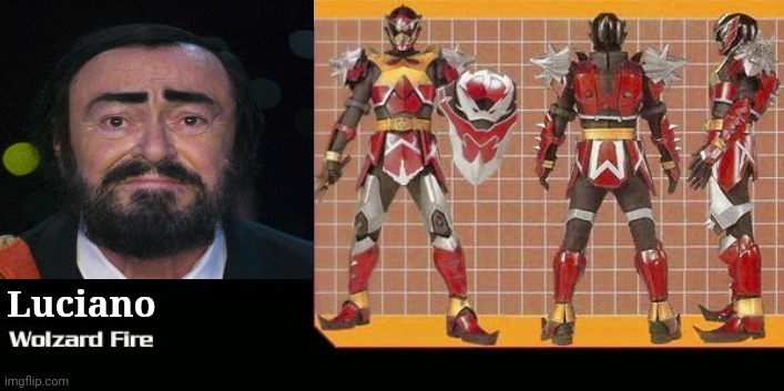 Luciano Pavarotti (1935-2007) as Wolzard Fire |  Luciano | image tagged in memes,pavarotti,super sentai | made w/ Imgflip meme maker