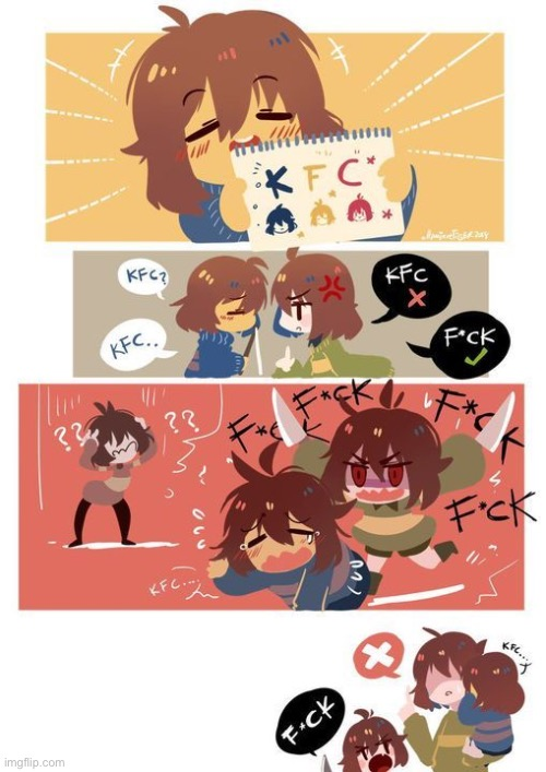 Frisk just wants her kfc(Found on Pinterest) | image tagged in kfc,undertale,frisk,chara,kris | made w/ Imgflip meme maker