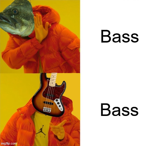Drake Hotline Bling |  Bass; Bass | image tagged in drake hotline bling,memes,all about that bass,fish,guitar,well yes but actually no | made w/ Imgflip meme maker