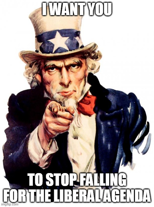 Uncle Sam wants you! |  I WANT YOU; TO STOP FALLING FOR THE LIBERAL AGENDA | image tagged in memes,uncle sam,politics,i want to you,america,funny | made w/ Imgflip meme maker