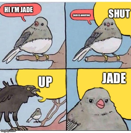 Inquisitormasters the squad jade and Zach |  SHUT; HI I'M JADE; ZACH IS ANNOYING; JADE; UP | image tagged in annoyed bird | made w/ Imgflip meme maker