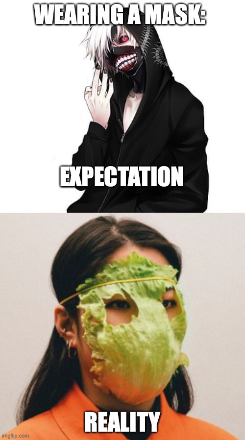 Wearing a mask expectation vs reality |  WEARING A MASK:; EXPECTATION; REALITY | image tagged in masks,coronavirus meme,animeme,tokyo ghoul,anime meme,anime | made w/ Imgflip meme maker