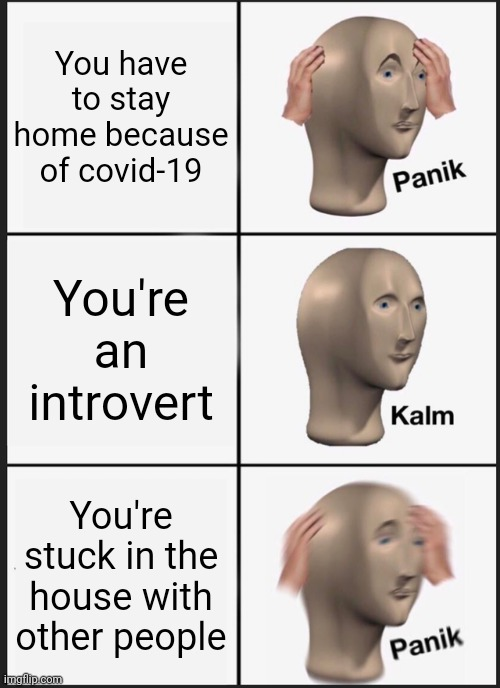 Relatable |  You have to stay home because of covid-19; You're an introvert; You're stuck in the house with other people | image tagged in memes,panik kalm panik | made w/ Imgflip meme maker