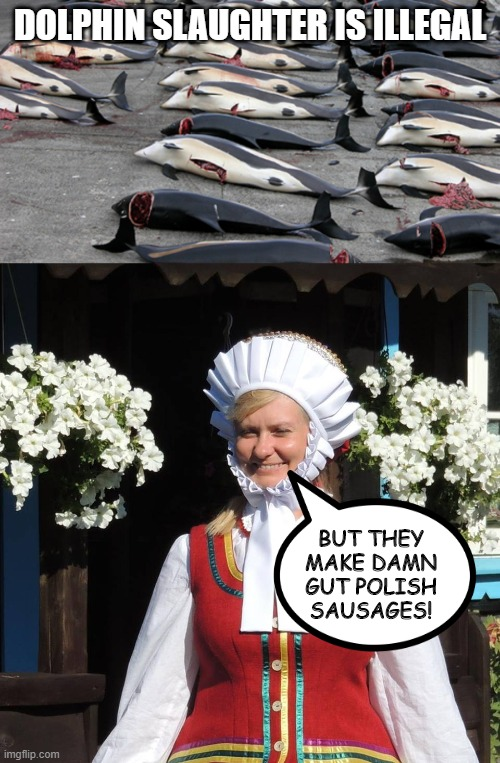 Der Ist Gut Meat |  DOLPHIN SLAUGHTER IS ILLEGAL; BUT THEY MAKE DAMN GUT POLISH SAUSAGES! | image tagged in dolphins,sausage | made w/ Imgflip meme maker