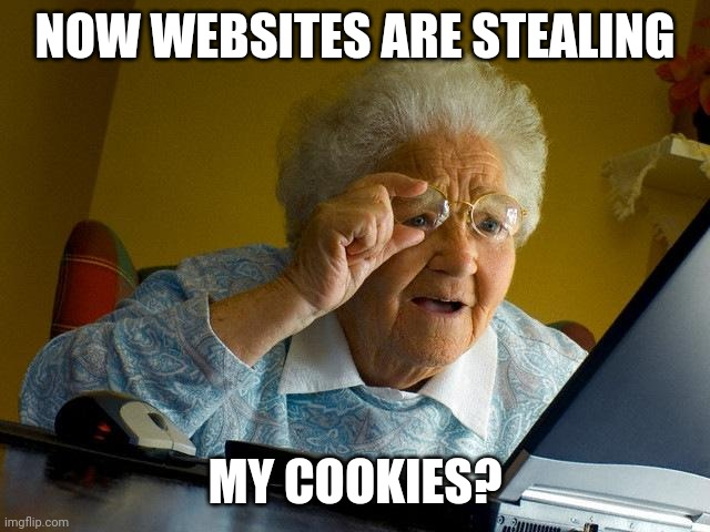 Grandma Finds The Internet Meme |  NOW WEBSITES ARE STEALING; MY COOKIES? | image tagged in memes,grandma finds the internet | made w/ Imgflip meme maker