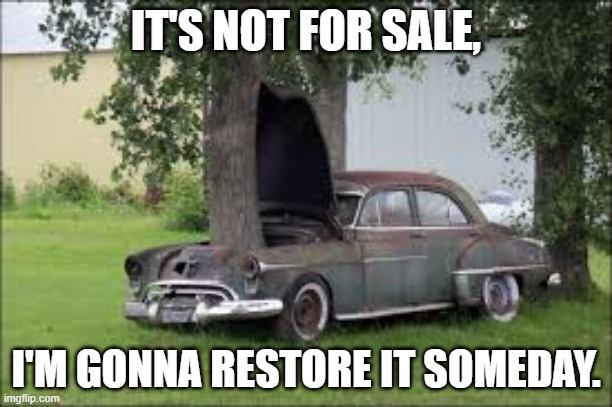 tree in car |  IT'S NOT FOR SALE, I'M GONNA RESTORE IT SOMEDAY. | image tagged in cars | made w/ Imgflip meme maker