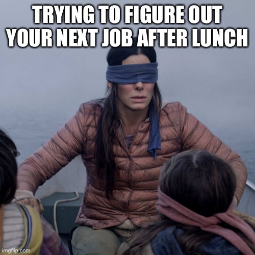 Bird Box Meme |  TRYING TO FIGURE OUT YOUR NEXT JOB AFTER LUNCH | image tagged in memes,bird box | made w/ Imgflip meme maker