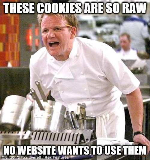 Chef Gordon Ramsay Meme |  THESE COOKIES ARE SO RAW; NO WEBSITE WANTS TO USE THEM | image tagged in memes,chef gordon ramsay,cookies,dessert,websites | made w/ Imgflip meme maker
