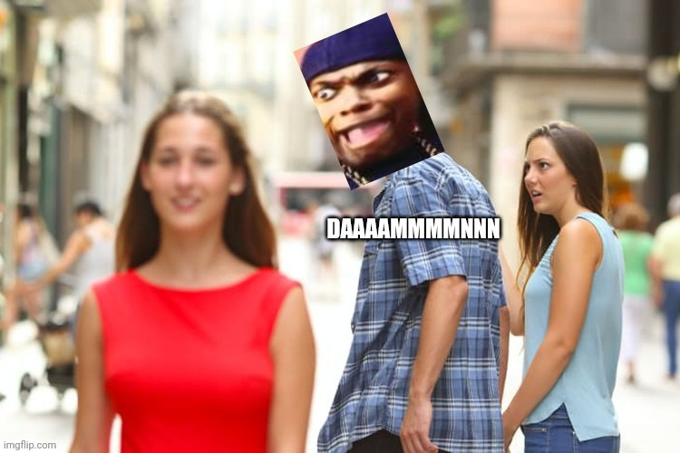 Meme crossover | image tagged in memes,meme crossover,ice cube damn,distracted boyfriend | made w/ Imgflip meme maker