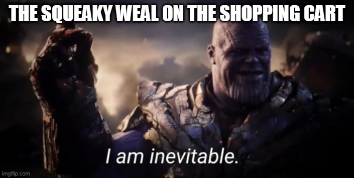 I am inevitable |  THE SQUEAKY WEAL ON THE SHOPPING CART | image tagged in i am inevitable | made w/ Imgflip meme maker
