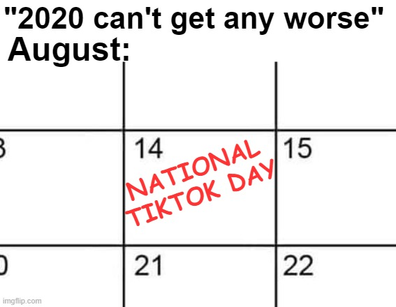 "Everyone's nightmare |  ""2020 can't get any worse""; August:; NATIONAL TIKTOK DAY 