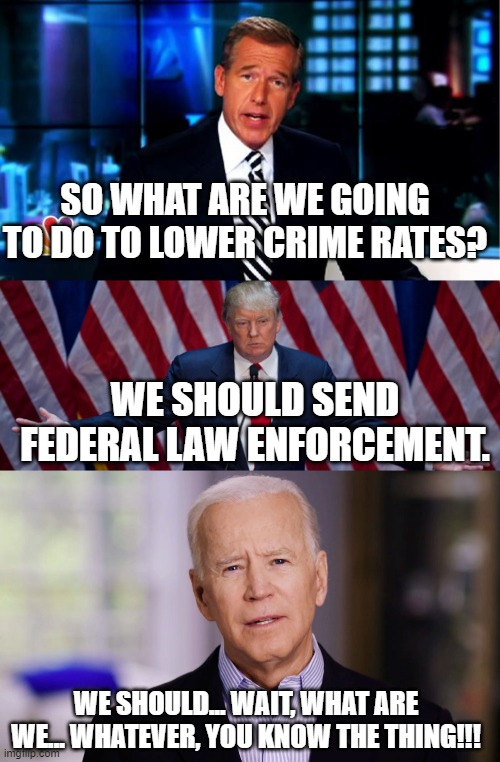 Solutions |  SO WHAT ARE WE GOING TO DO TO LOWER CRIME RATES? WE SHOULD SEND FEDERAL LAW ENFORCEMENT. WE SHOULD... WAIT, WHAT ARE WE... WHATEVER, YOU KNOW THE THING!!! | image tagged in news anchor,donald trump,joe biden,crime,memes,politics | made w/ Imgflip meme maker