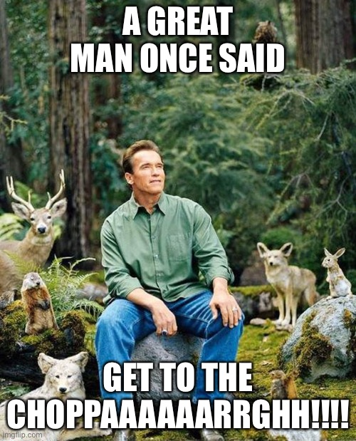 Arnold nature |  A GREAT MAN ONCE SAID; GET TO THE CHOPPAAAAAARRGHH!!!! | image tagged in arnold nature | made w/ Imgflip meme maker