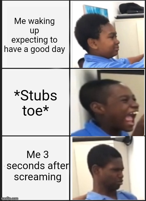 Panik Kalm Panik |  Me waking up expecting to have a good day; *Stubs toe*; Me 3 seconds after screaming | image tagged in memes,toe,this is a old school image that i made into a meme | made w/ Imgflip meme maker