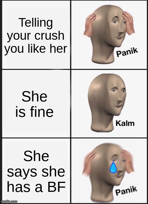 Spekig 2 Crush |  Telling your crush you like her; She is fine; She says she has a BF | image tagged in memes,panik kalm panik | made w/ Imgflip meme maker