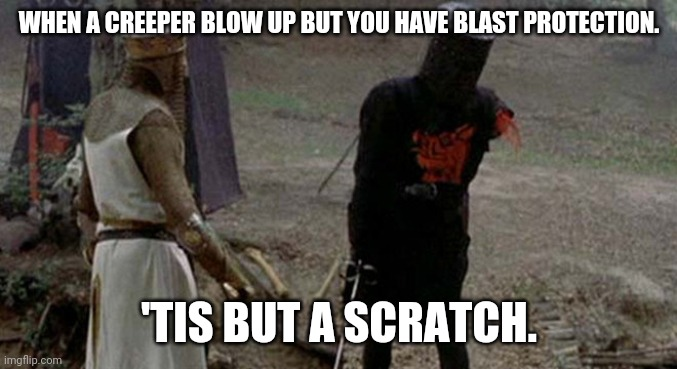 Tis but a scratch |  WHEN A CREEPER BLOW UP BUT YOU HAVE BLAST PROTECTION. 'TIS BUT A SCRATCH. | image tagged in tis but a scratch | made w/ Imgflip meme maker