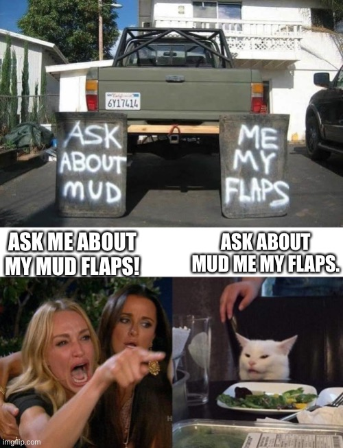 Asking the big questions. |  ASK ABOUT MUD ME MY FLAPS. ASK ME ABOUT MY MUD FLAPS! | image tagged in memes,woman yelling at cat,trucks,mud,truck | made w/ Imgflip meme maker