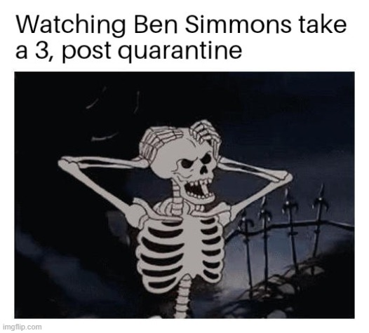 image tagged in ben simmons,threes,quarantine,basketball,hoops | made w/ Imgflip meme maker