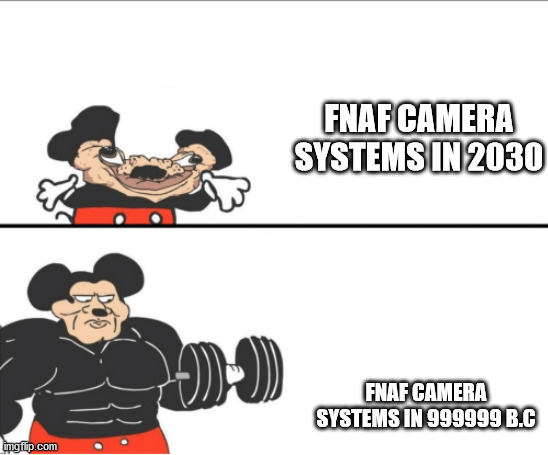 Retrofuturism intensifies |  FNAF CAMERA SYSTEMS IN 2030; FNAF CAMERA SYSTEMS IN 999999 B.C | image tagged in weak vs strong mickey,five nights at freddys,memes | made w/ Imgflip meme maker