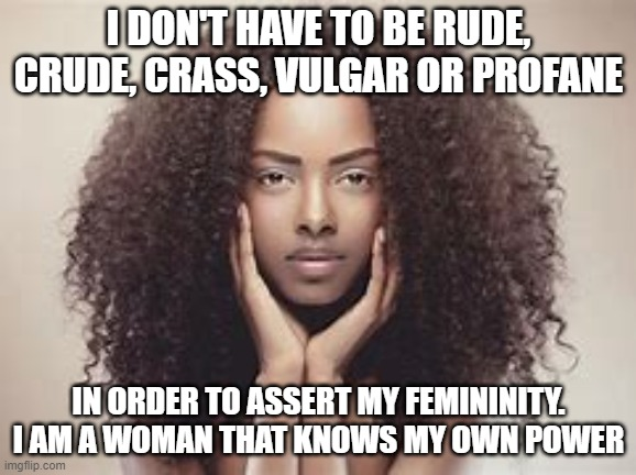 women |  I DON'T HAVE TO BE RUDE, CRUDE, CRASS, VULGAR OR PROFANE; IN ORDER TO ASSERT MY FEMININITY. I AM A WOMAN THAT KNOWS MY OWN POWER | image tagged in feminism,female | made w/ Imgflip meme maker