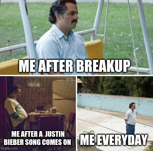 true tho |  ME AFTER BREAKUP; ME AFTER A  JUSTIN BIEBER SONG COMES ON; ME EVERYDAY | image tagged in memes,sad pablo escobar | made w/ Imgflip meme maker