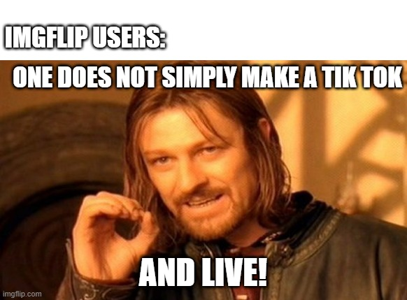 Indeed. |  IMGFLIP USERS:; ONE DOES NOT SIMPLY MAKE A TIK TOK; AND LIVE! | image tagged in memes,one does not simply | made w/ Imgflip meme maker