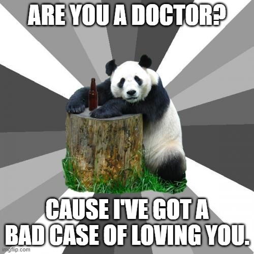 Yes, I know it's from a song. |  ARE YOU A DOCTOR? CAUSE I'VE GOT A BAD CASE OF LOVING YOU. | image tagged in memes,pickup line panda,music,1970's | made w/ Imgflip meme maker