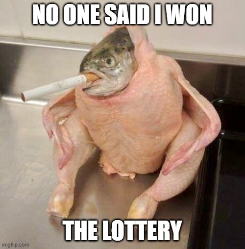NO ONE SAID I WON THE LOTTERY | image tagged in smoking ficken | made w/ Imgflip meme maker