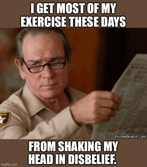 Lot of exercise lately |  I GET MOST OF MY EXERCISE THESE DAYS; FROM SHAKING MY HEAD IN DISBELIEF. | image tagged in exercise,shake,head,memes,funny,unbelievable | made w/ Imgflip meme maker