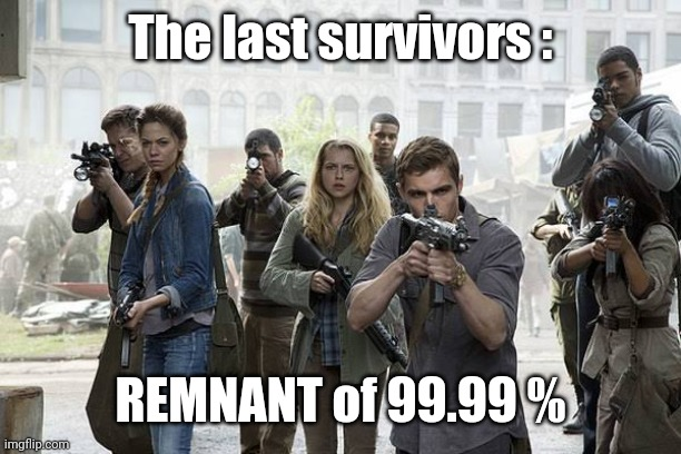 Surviving Remnant of Covid | The last survivors : REMNANT of 99.99 % | image tagged in covid-19,coronavirus,survivor,politics | made w/ Imgflip meme maker