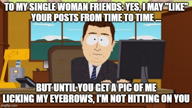 "Aaaaand Its Gone |  TO MY SINGLE WOMAN FRIENDS: YES, I MAY ""LIKE"" YOUR POSTS FROM TIME TO TIME ... BUT UNTIL YOU GET A PIC OF ME LICKING MY EYEBROWS, I'M NOT HITTING ON YOU 