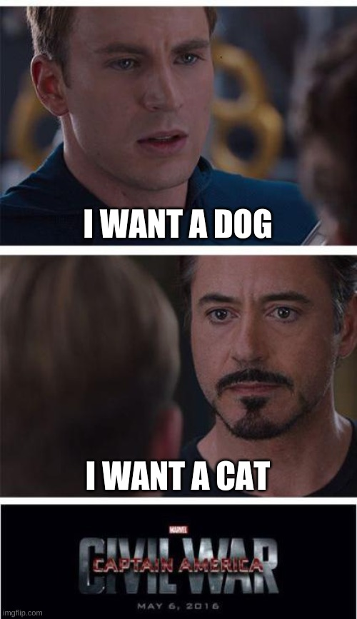 Cat vs Dog |  I WANT A DOG; I WANT A CAT | image tagged in memes,marvel civil war 1 | made w/ Imgflip meme maker