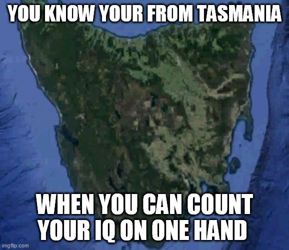 Tasmanian IQ |  YOU KNOW YOUR FROM TASMANIA; WHEN YOU CAN COUNT YOUR IQ ON ONE HAND | image tagged in tasmania,tasmanian,iq,australia | made w/ Imgflip meme maker