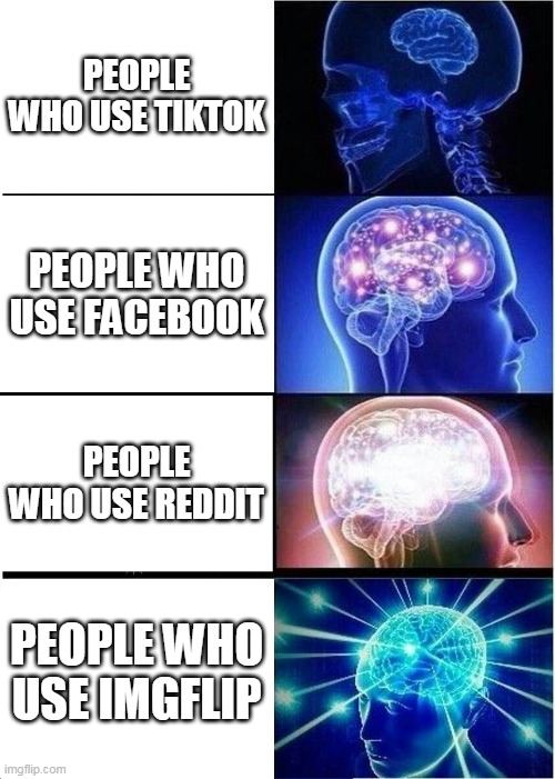 Expanding Brain Meme |  PEOPLE WHO USE TIKTOK; PEOPLE WHO USE FACEBOOK; PEOPLE WHO USE REDDIT; PEOPLE WHO USE IMGFLIP | image tagged in memes,expanding brain | made w/ Imgflip meme maker