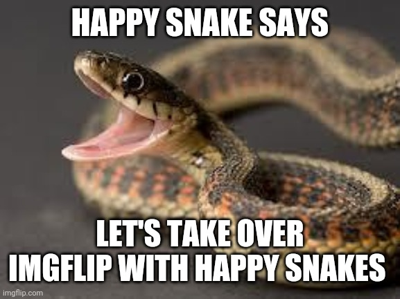 Warning Snake |  HAPPY SNAKE SAYS; LET'S TAKE OVER IMGFLIP WITH HAPPY SNAKES | image tagged in warning snake | made w/ Imgflip meme maker