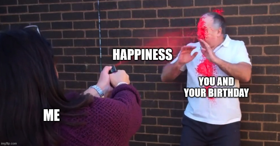 birthday spray |  HAPPINESS; YOU AND YOUR BIRTHDAY; ME | image tagged in happy birthday,happy | made w/ Imgflip meme maker