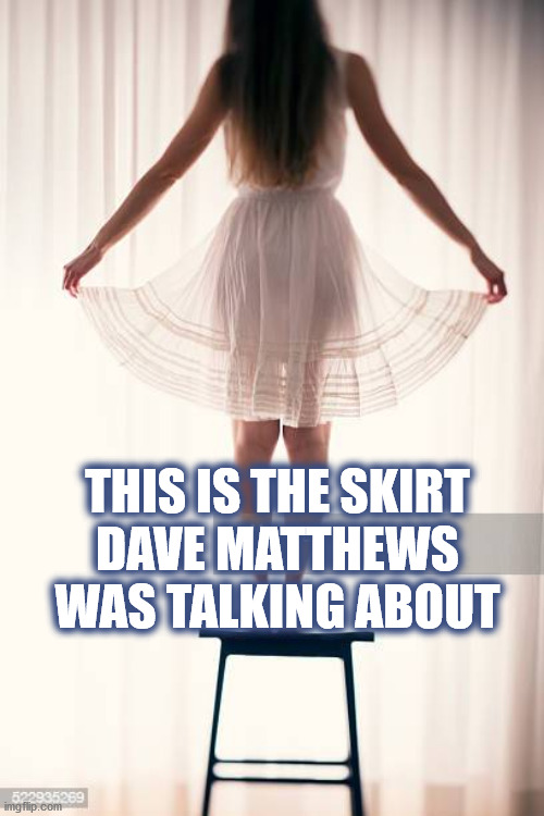 THE SKIRT DAVE MATTHEWS WAS TALKING ABOUT |  THIS IS THE SKIRT DAVE MATTHEWS WAS TALKING ABOUT | image tagged in dmb,dave matthews band,dave matthews,crash,skirt,woman | made w/ Imgflip meme maker