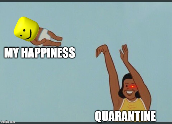 good bye happiness |  MY HAPPINESS; QUARANTINE | image tagged in baby yeet | made w/ Imgflip meme maker