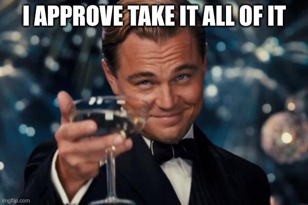 Leonardo Dicaprio Cheers Meme | I APPROVE TAKE IT ALL OF IT | image tagged in memes,leonardo dicaprio cheers | made w/ Imgflip meme maker