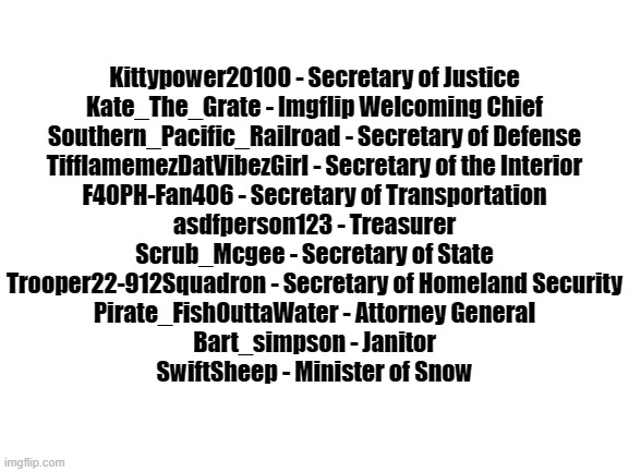 President_Puppy's cabinet |  Kittypower20100 - Secretary of Justice Kate_The_Grate - Imgflip Welcoming Chief Southern_Pacific_Railroad - Secretary of Defense TifflamemezDatVibezGirl - Secretary of the Interior F40PH-Fan406 - Secretary of Transportation asdfperson123 - Treasurer Scrub_Mcgee - Secretary of State Trooper22-912Squadron - Secretary of Homeland Security Pirate_FishOuttaWater - Attorney General Bart_simpson - Janitor SwiftSheep - Minister of Snow | image tagged in blank white template | made w/ Imgflip meme maker