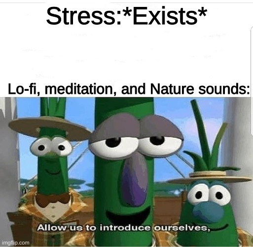 btw made this while listening to lofi |  Stress:*Exists*; Lo-fi, meditation, and Nature sounds: | image tagged in allow us to introduce ourselves,lofi hip hop | made w/ Imgflip meme maker