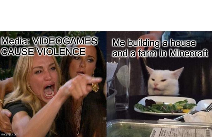 Woman Yelling At Cat Meme |  Media: VIDEOGAMES CAUSE VIOLENCE; Me building a house and a farm in Minecraft | image tagged in memes,woman yelling at cat | made w/ Imgflip meme maker
