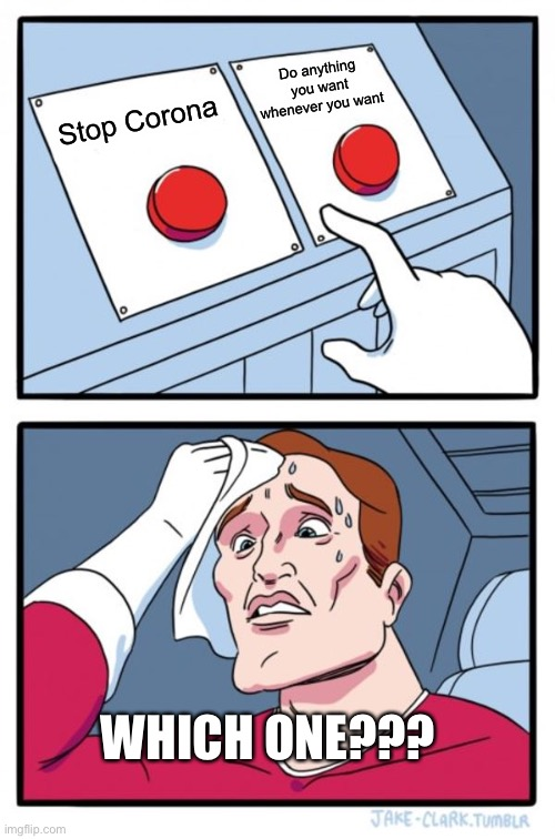 Two Buttons Meme |  Do anything you want whenever you want; Stop Corona; WHICH ONE??? | image tagged in memes,two buttons | made w/ Imgflip meme maker