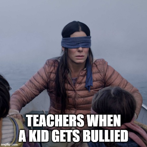 teachers r blind |  TEACHERS WHEN A KID GETS BULLIED | image tagged in memes,bird box | made w/ Imgflip meme maker