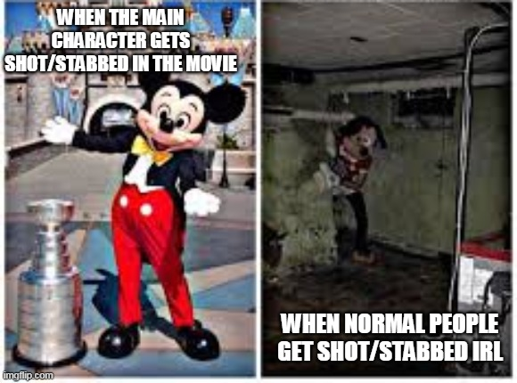 WHEN THE MAIN CHARACTER GETS SHOT/STABBED IN THE MOVIE; WHEN NORMAL PEOPLE GET SHOT/STABBED IRL | image tagged in mickey mouse in disneyland | made w/ Imgflip meme maker