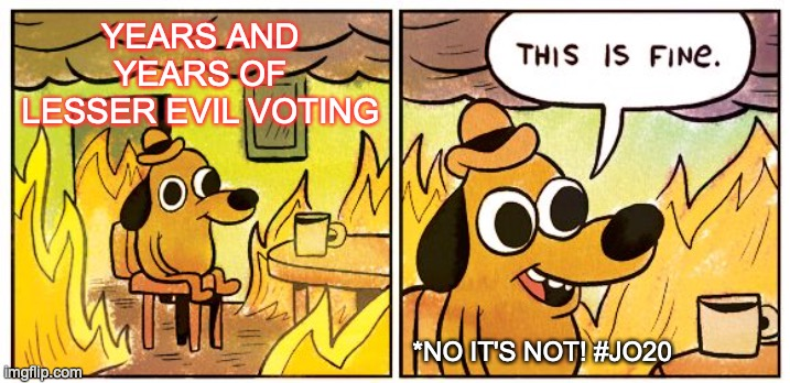 This is NOT fine |  YEARS AND YEARS OF LESSER EVIL VOTING; *NO IT'S NOT! #JO20 | image tagged in this is fine,lesser of two evils,duopoly,jo20,vote jorgensen,wasted vote | made w/ Imgflip meme maker