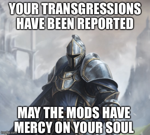 Parried and Reported |  YOUR TRANSGRESSIONS HAVE BEEN REPORTED; MAY THE MODS HAVE MERCY ON YOUR SOUL | image tagged in knight,fantasy,blocked,report | made w/ Imgflip meme maker
