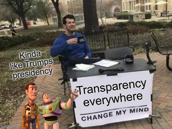 Transparency To All | image tagged in buzz woodward,change my mind to trump,2020 | made w/ Imgflip meme maker