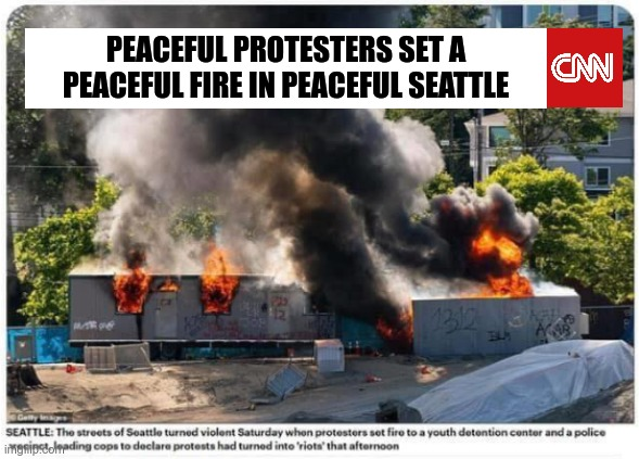Spin it to win it! |  PEACEFUL PROTESTERS SET A PEACEFUL FIRE IN PEACEFUL SEATTLE | image tagged in fake news | made w/ Imgflip meme maker